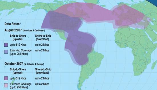 Зона обслуживания спутниковой антенны TracPhone V7